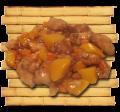 Куриное филе под кисло-сладким соусом с кусочками персика