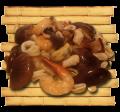 Морепродукты с грибами шиитаке