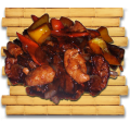 Жареные баклажаны с филе куриной грудинки